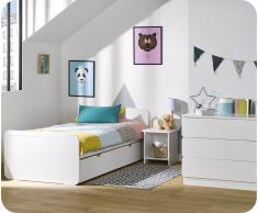 Dormitorio juvenil LEMON Blanco - Set de 3 Muebles