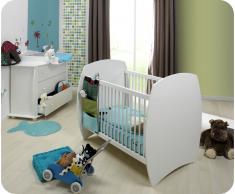 Mini dormitorio de bebé MEDEA Blanco Colchón incluido
