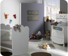Mini dormitorio LINEA Blanco Cuna barrotes. Colchón incluido