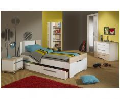 Dormitorio juvenil BORA de 4 Muebles Blanco y Madera