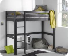 Pack cama alta Wood + Colchón, Gris Antracita