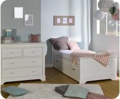 Dormitorio juvenil MEL Blanco - Set de 2 Muebles