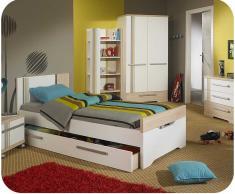 Dormitorio juvenil BORA de 5 Muebles Blanco y Madera