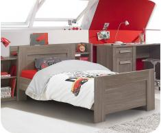 Pack cama juvenil Auckland Roble Mobila 90x200cm + Somier + Colchón