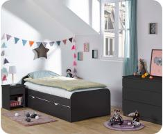 Dormitorio juvenil TWIST de 3 Muebles Gris Antracita