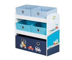 Estanteria organizador roba Piloto, Juguetero estanteria para habitación de niños, incluye 5 cajas de loneta, decorado con motivos automovilisticos en azul