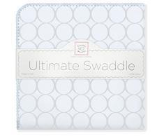 SwaddleDesigns Manta Envolvente Ultimate, Franela de Algodón de calidad superior, Círculos gris plata sobre azul claro