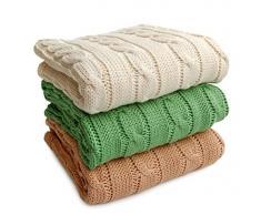 SonnenStrick 3009009 - Manta para bebé (100% algodón orgánico), diseño de Trenzas, Color Verde