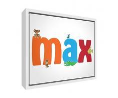 Feel Good Art enmarcado lienzo con caja madera Surround en diseño de Ilustrativos, nombre Boy s (64 x 44 x 3 cm, tamaño grande), max)