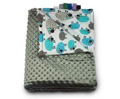 1buy3 MINKY - Manta para bebé (acolchada, 100 x 160 cm), color gris y oveja