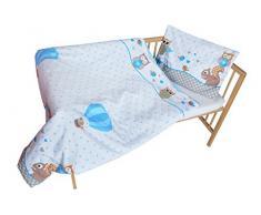 cosing 332 - 019 - 166 Juego de ropa de cama infantil algodón 2 piezas - Búho con ardilla, color azul