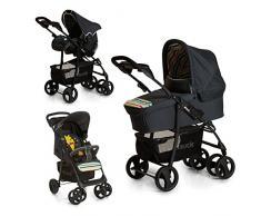 Hauck carro Shopper SLX trioset Disney, coche de bebes 3 piezas de capazo, sillita y grupo 0+, botellero, facil y comodo plegado, para recien nacidos hasta bebes/niños de 25 kg, negro