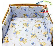 BlueberryShop juego de ropa de cama de algodón | funda de edredón 90 x 120 cm | fundas de almohadas 40 x 60 cm | protector de la camita 35 x 150 cm | Para niños de 0-3 años | Azul Oso