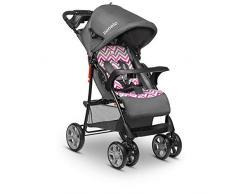 Lionelo Emma Plus - Cochecito de bebé ligero y moderno, pequeño, con posición reclinada, plegable, color rosa