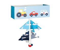Roba piloto de carreras, serie muebles infantiles en azul y blanco, varios muebles para pequeños fanáticos de los coches multicolor Garderobe