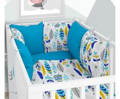 Ropa de cama para cuna y cojín – Seis cojines de terciopelo, fundas para la cuna 70 x 140 cm