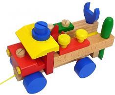 Detoa 11837 - Camión con herramientas de juguete (desmontable, de madera), color beige y multicolor