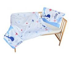 cosing 332 - 019 - 156 Juego de ropa de cama infantil algodón 2 piezas - Océano, Azul