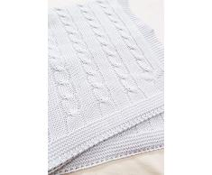 Wallaboo Manta de algodón orgánico de calidad premium con certificado GOTS no químico, Super suave y de alta calidad. Se puede lavar a máquina. Dimensiones: 90 x 70cm, color: blanco