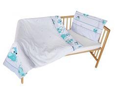 cosing 332 - 019 - 181 Juego de ropa de cama infantil algodón 2 piezas - búhos, color blanco/gris