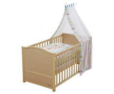 Juego de cuna completa roba, cuna en acabado madera natural incluye funda de nordico, protector de cuna, dosel y colchón, cuna de 70x140cm transformable en cama infantil