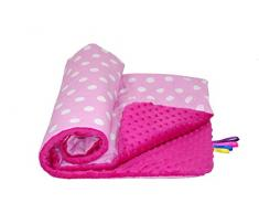 Babys Comfort - suave manta Minky, Rojo (manchas rosadas / Rosa Minky), 100 x 75 cm