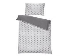 Schardt - Juego de cama infantil reversible (2 piezas), diseño de estrellas, color gris