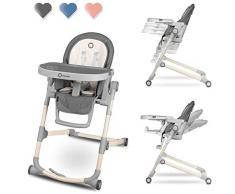Lionelo LO-CORA STONE - Trona para bebé, ajustable, plegable, doble bandeja, color gris