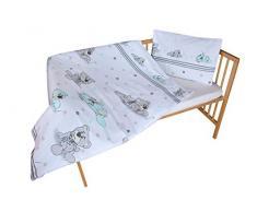 cosing 332 - 019 - 160 Juego de ropa de cama infantil algodón 2 piezas - Oso con bufanda, color blanco/gris