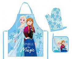 POS Handels GmbH 28623 - Juego de delantales con diseño de Frozen Anna y Elsa, compuesto de delantal, guantes y agarraderas, en caja de regalo, para niños, multicolor