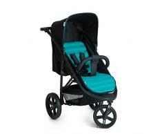Hauck Rapid 3 - Silla de paseo deportiva para bebes de 6 meses hasta 15 kg, con barrera delantera, sistema de arnés de 5 puntos, 3 ruedas grandes desmontables, respaldo reclinable, negro y turquesa