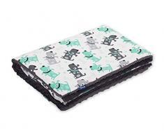 Pepi Leti 685843716471 Minky - Manta infantil (100 x 75 cm), diseño de perros, color gris oscuro