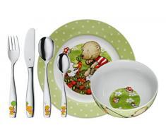 WMF Pitzelpatz - Vajilla para niños 6 piezas, incluye plato, cuenco y cubertería (tenedor, cuchillo de mesa, cuchara y cuchara pequeña) (WMF Kids infantil)