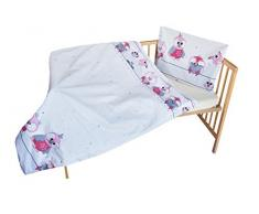 cosing 332 - 019 - 157 Juego de ropa de cama infantil algodón 2 piezas - búhos, color rosa