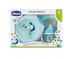 Chicco - Set completo comida, incluye plato + cubiertos + vaso, 6 m+, azul
