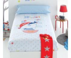 Pirulos 77311813 - Funda nórdica y funda almohadilla 160 x 260 diseño pirate, color blanco y azul