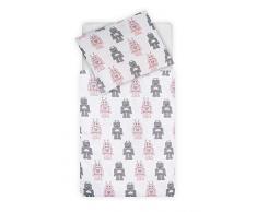 Jollein - Funda nórdica y funda de almohada, funda de edredón y funda de almohada (120 x 150 cm), diseño de robot rosa, funda de edredón y funda de almohada (120 x 150 cm), color rosa