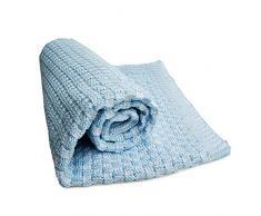 Sonnenstrick SODE2 - Manta con relieve para bebés, 80 x 80 cm, color azul claro y blanco