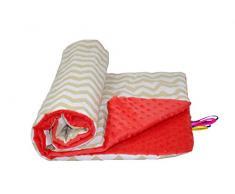 Babys Comfort - Manta Minky suave, Rojo (Beige Chevron/rojo Minky), 100 x 75 cm