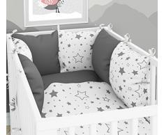 Juego de 3 piezas: ropa de cuna de 100 x 135 cm con sábana bajera y protector de almohada – seis fundas de almohada de terciopelo para la cuna de 70 x 140 cm.