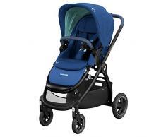 Maxi-Cosi Adorra Carrito bebé recién nacido hasta 3,5 años, Cochecito Plegable y Reclinable en posición acostada, hamaca acolchada e gran cestilla de compra, color Essential Blue