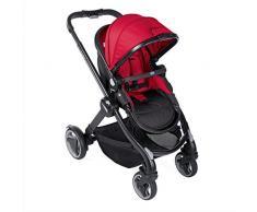 Chicco Fully Single Silla de paseo 2 en 1 transformable, silla y capazo, color rojo