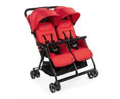 Chicco OHlala Twin - Silla de paseo gemelar, muy ligera y compacta, solo 8 kg, gemelos mellizos o hermanos, color rojo (Paprika)