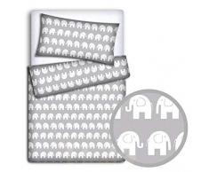 Juego de ropa de cama de bebé + funda de edredón de 2 piezas para cama de niño (gris)