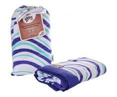 xkko bmb10 0004 a de 2 capas muselina bambú Manta infantil, Bamboo muselina Blanket, incluye bolsa protectora Chen bambú muselina Manta de Bebé, color azul