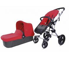 BabyAce 042 - Cochecito de bebé dúo - Chasis plata, base gris, set polar rojo