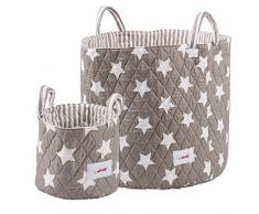 Minene, Cesta de almacenamiento, pequeña plegable, tamaño grande, caja de almacenaje gris Blue Star, Fuchsia Star, Grey Star, Grey Chevron, Pink Flowers, Green Dots; Red Gingham, Grey Spot, Blue Grey Star, Cream Flowers, Yellow
