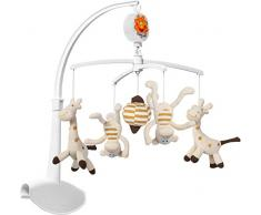 Móvil musical Baby Ono con colorido y suaves juguetes (jirafa y mono)