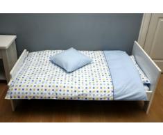 Motherhood 3 en 1 - Juego de cama infantil (100% algodón), varios diseños azul-verde lunares