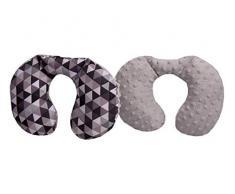 Medi Partners - Almohada cervical para niños, 100% algodón/Minky, almohada cervical para cochecito de bebé, viaje en coche, para dormir, almohada (triángulo con minky gris)